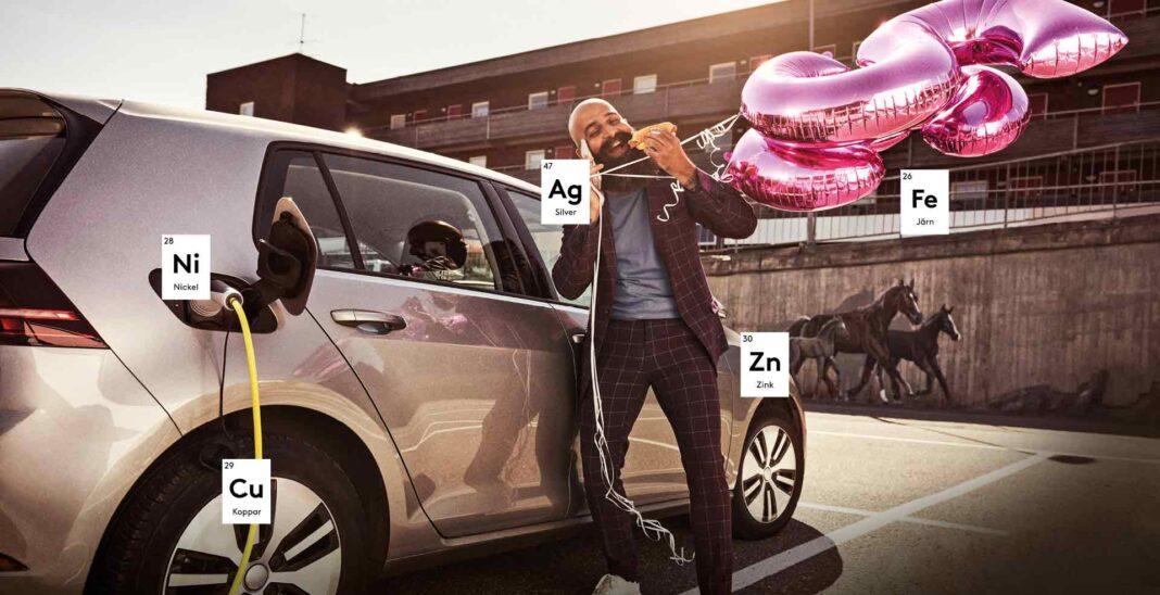 Den svenska gruvan är en kampanj från Svemin. Bilden visar en man och en elbil. Viktiga metaller finns markerade på bilden.